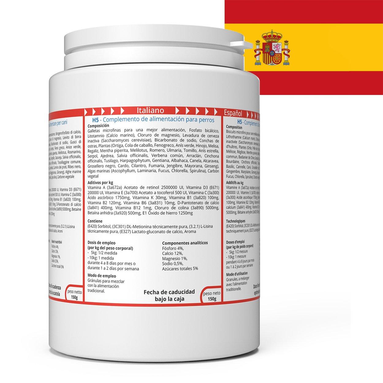 ww7 H5 Fórmula Natural para Vigor, músculos & tranporte de Perros -150g: Amazon.es: Productos para mascotas
