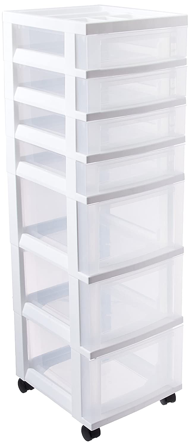 IRIS USA, Inc. 116842 IRIS 7-Drawer Storage Cart with Organizer Top, White