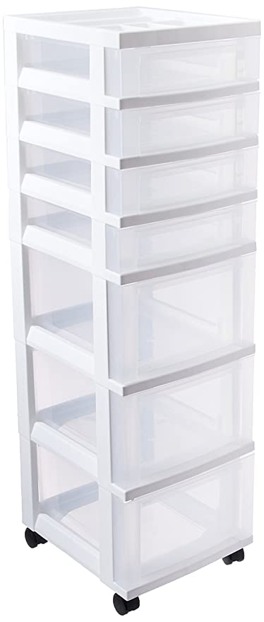 Charming IRIS 7 Drawer Rolling Storage Cart With Organizer Top, White