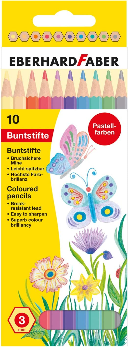 Eberhard Faber 514810 Lot de 10 crayons de couleur en forme hexagonale Couleurs pastel Multicolore