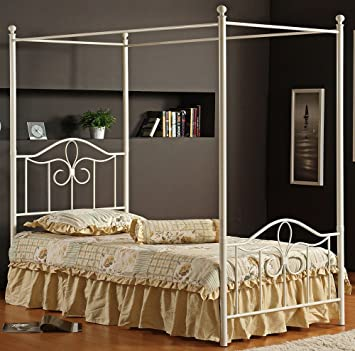 Hillsdale Furniture 1354BFPR Westfield Canopy Bed Set with Rails Full Off White & Amazon.com: Hillsdale Furniture 1354BFPR Westfield Canopy Bed Set ...