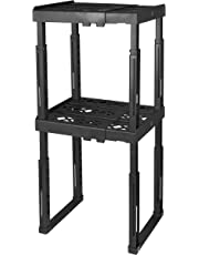 """Tools for School Locker Shelf. Adjustable Width 8"""" - 12 1/2"""" and Height 9 3/4"""" - 14"""". Stackable and Heavy Duty. Ideal for School, Work and Gym Lockers (Black, Double)"""