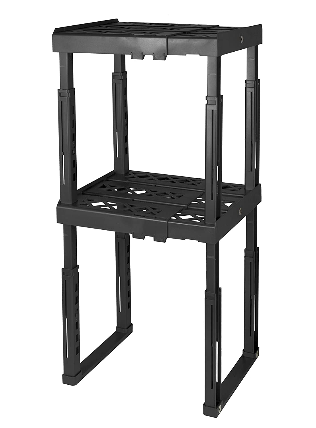 "Tools for School Locker Shelf. Adjustable Width 8"" - 12 1/2"" and Height 9 3/4"" - 14"". Stackable and Heavy Duty. Ideal for School, Work and Gym Lockers (Black, Double)"