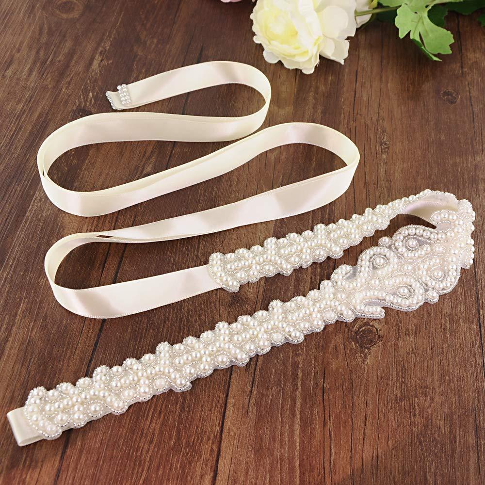 ULAPAN Wedding Belt Sashes for Bridal Pearl Belt beaded belts for wedding dresses