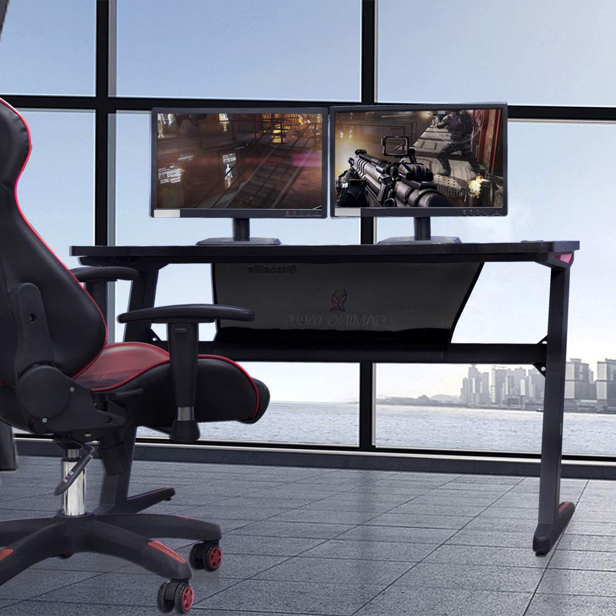 Gaming Desk Computer Table Z Shape, Bizzoelife E Sports Racing Table with LED Light Ergonomic Comfortable Height (47 Inches) by Bizzoelife (Image #2)