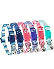 Didog 6Pcs Fresh Color Cat Collars with Bell,Breakaway Soft Adjustable Nylon Cat Collars with Safty Buckle,Fit Kitten,Small Dogs