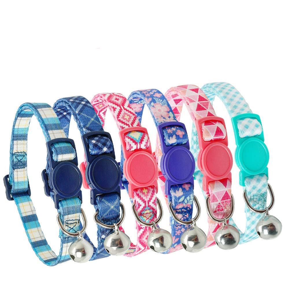 Didog 6Pcs Fresh Color Cat Collars with Bell,Breakaway Soft Adjustable Nylon Cat Collars with Safty Buckle,Fit Kitten,Small Dogs by Didog