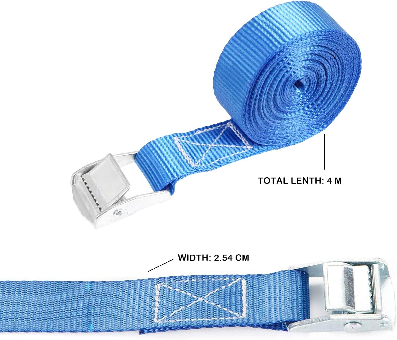 no Hooks SHUANG 2x 250 kg 4 m Ratchet tie down lashing straps Tensioning belt Load securing straps Heavy duty ratchet straps for Carriers Luggage Cargo