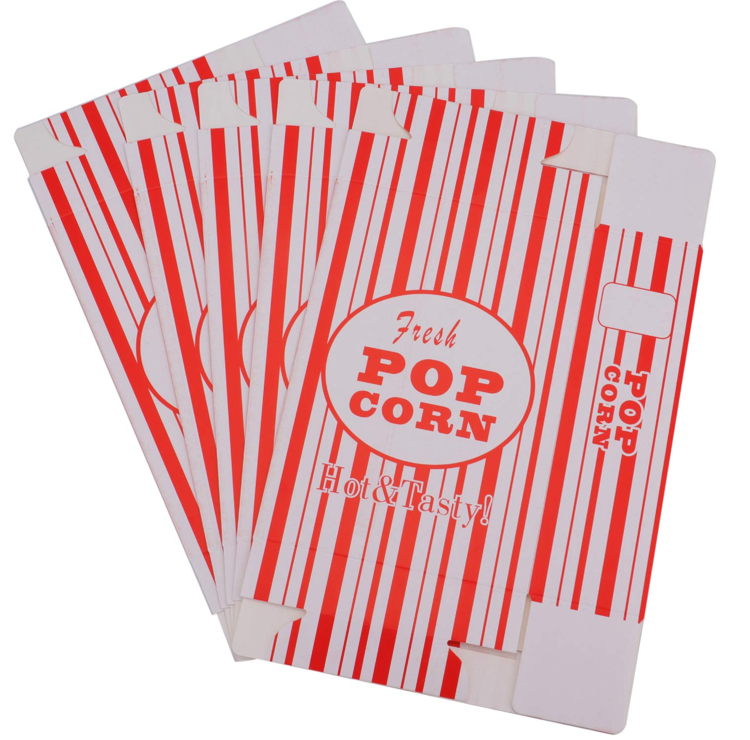 Bekith 100/Case Close-Top Popcorn Box, Red and White Stripes Classic Design by Bekith (Image #5)