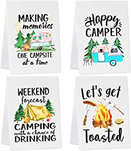 Vansolinne Camping Kitchen Towels Set of 4 Dish Towels White Kitchen Hand Towels Kit Printed with Funny Sayings Novelty Gifts for Campers Happy Camper Camping Accessories for RV Campers