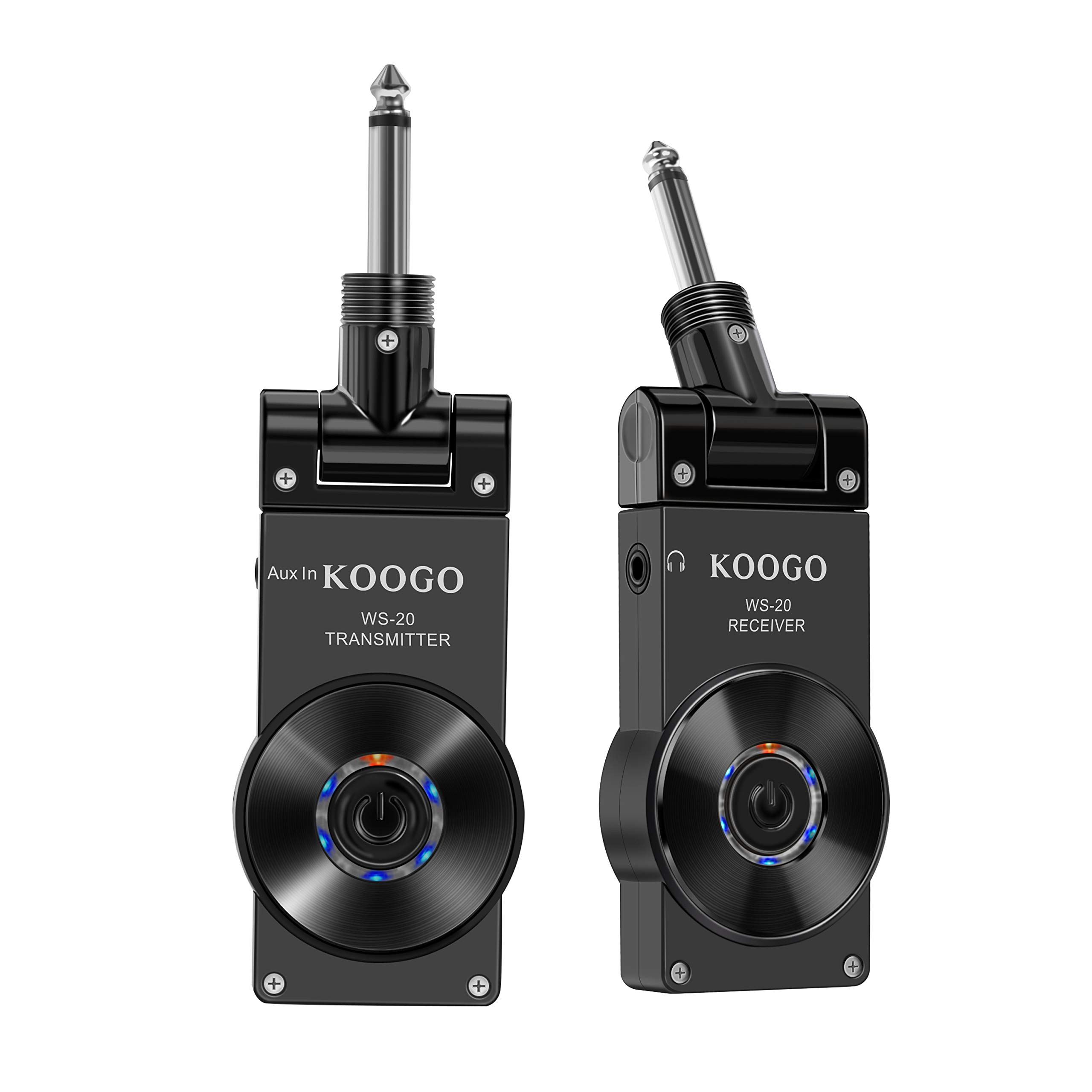 Wireless Guitar System Transmitter & Receiver for Electric Guitar Bass Violin with Rechargable Battery, (Full Black) by Koogo