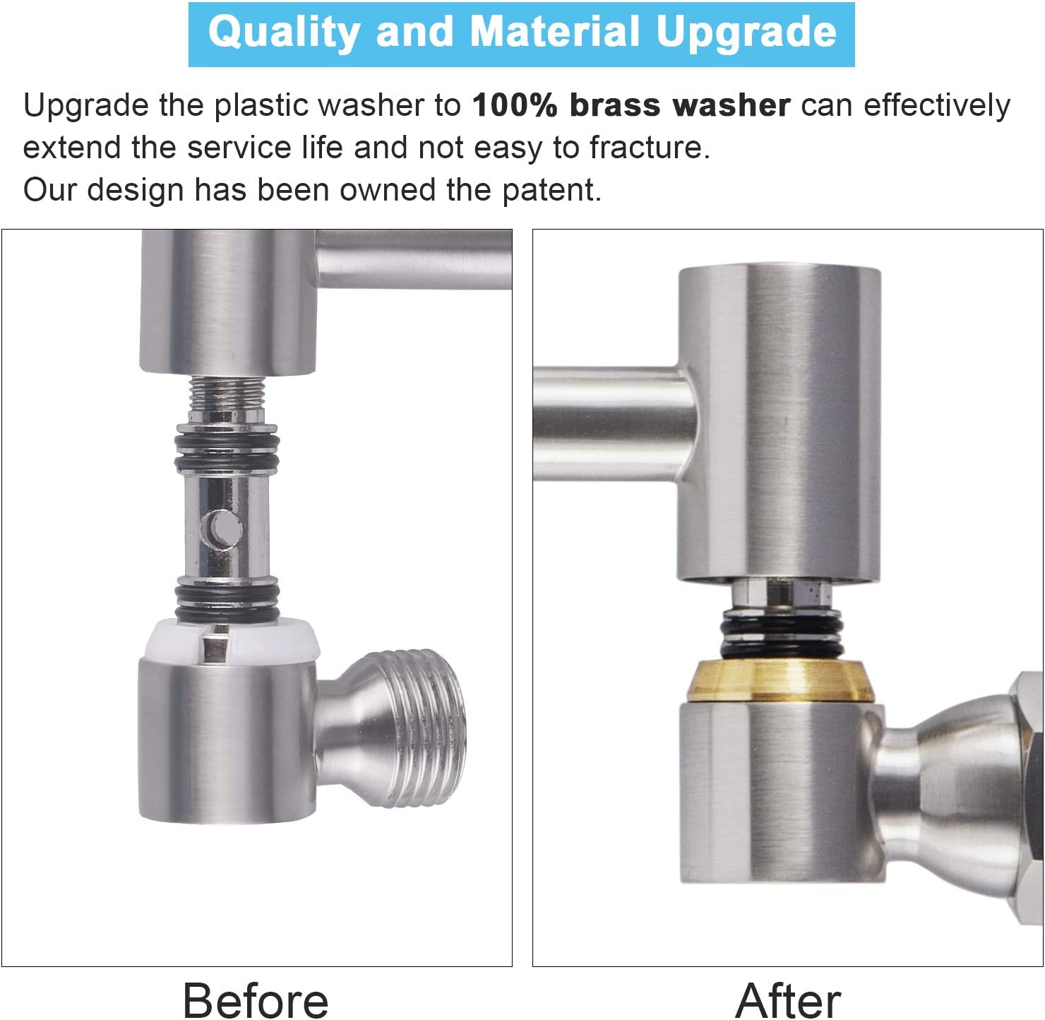 Adjustable Shower Arm Extension 12 Inches Extra Long Brushed Nickel Solid Brass Shower Extender Replacement for Rain Shower Head Adjust Height and Angle Standard G1//2 Thread
