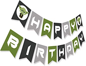 Baby Yoda Happy Birthday Banner, Inspired by Star Wars, Cute Yoda Bday Party Bunting Decoration