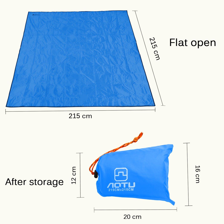 Fishing Blue 7 x 7 FT Oxford Waterproof Picnic /& Beach Mat Lightweight Ground Cover Mutifunctional Tent Footprint Shelter Drawstring Carrying Bag Hiking Sunshade Sunshade Htwon Camping Tarp
