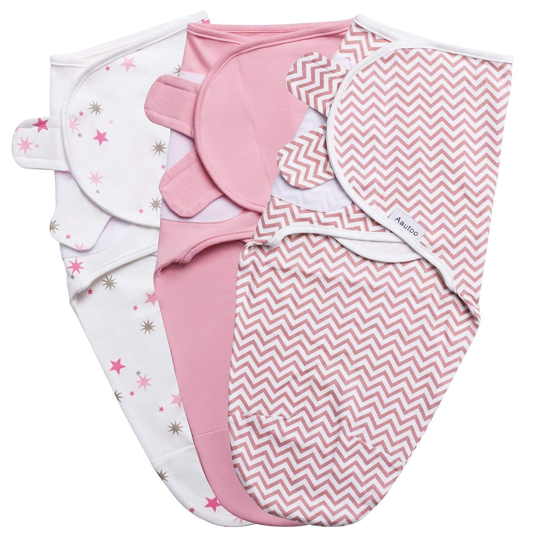 Baby Swaddle Blanket, Swaddle Wrap for Infant, Adjustable Newborn Swaddle Set, 3 Pack Soft Organic Cotton