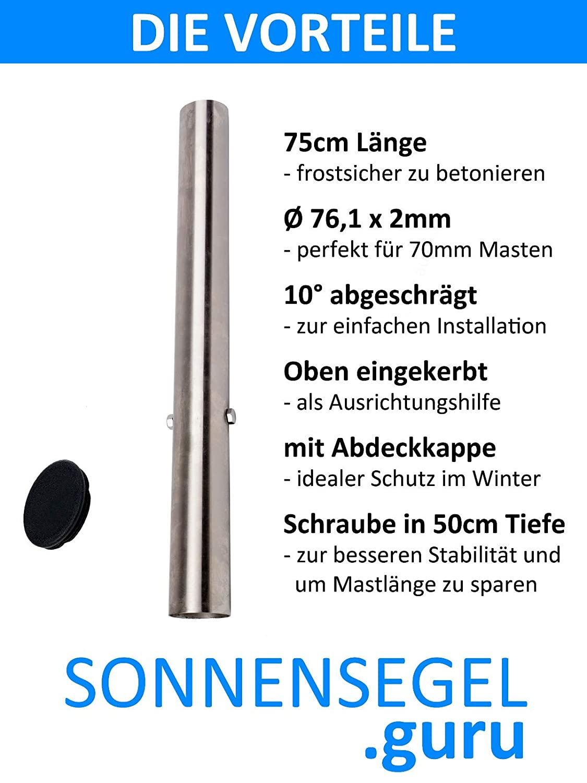 Bodenhülse für Sonnensegelmast 60mm 50cm Länge inkl Abdeckkappe Sonnensegel
