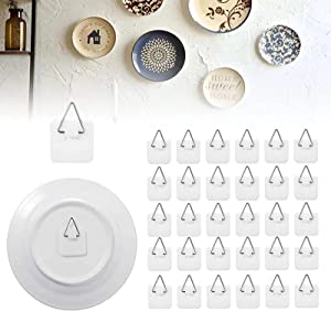 50 Pieces Invisible Plate Hanger for the Wall,1.25 Inch Adhesive Plate Wall Hangers, Vertical Wall Plate Holder for Plate Picture Home Wall Art Decor Supplies Without Nails