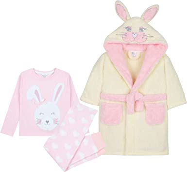 Girls Novelty Bunny Snuggle Fleece Dressing Gown ~ 2-6 Yrs Childrens Infants