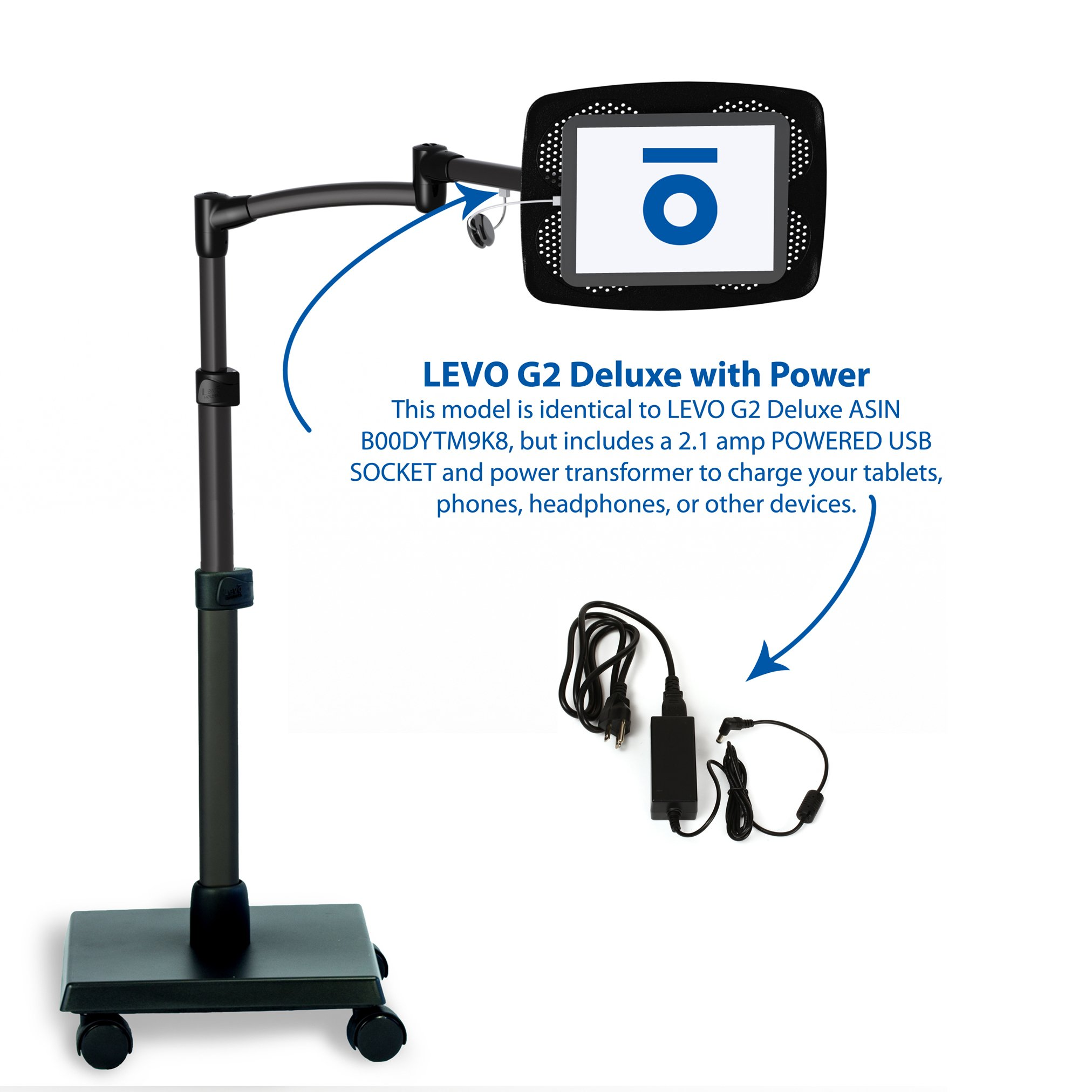 LEVO Deluxe Tablet Floor Stand Powered to Charge all Best Tablets iPad Mini Pro Galaxy Fire Surface by Levo (Image #4)