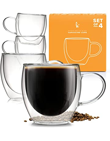 9d88fa43e09 Coffee or Tea Glasses Set of 4-8oz Double Wall Thermal Insulated Cups with  Handle