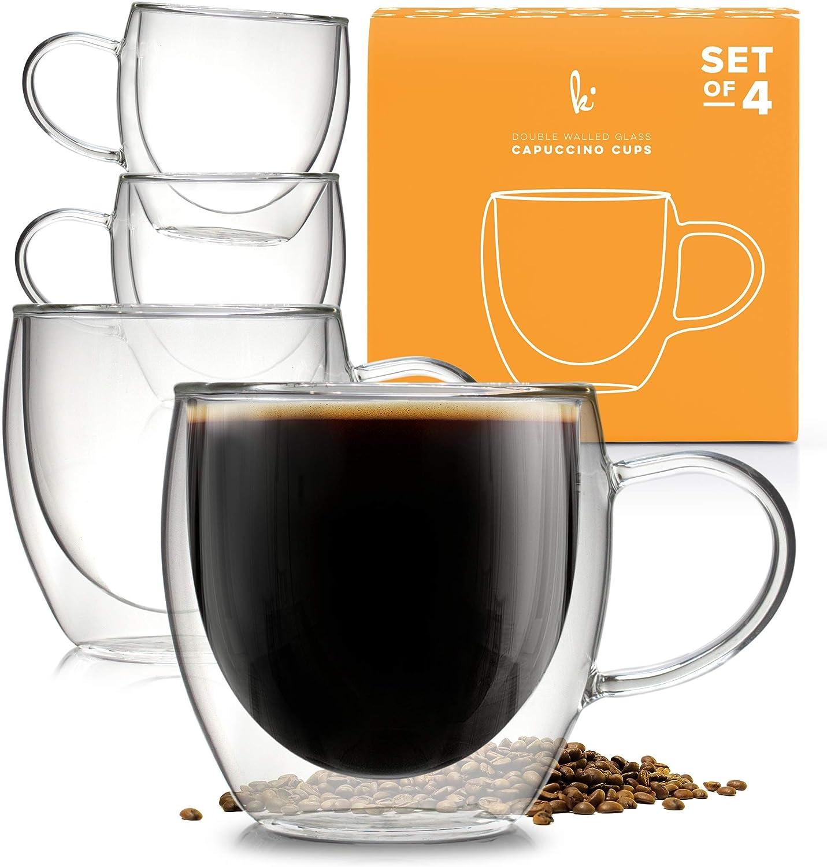 Amazon Com Insulated Coffee Mug With Handle Borosilicate Glass Coffee Cups And Tea Cups Double Walled Glass Coffee Mugs For Women And Men Set Of 4 8oz Coffee Cups Mugs