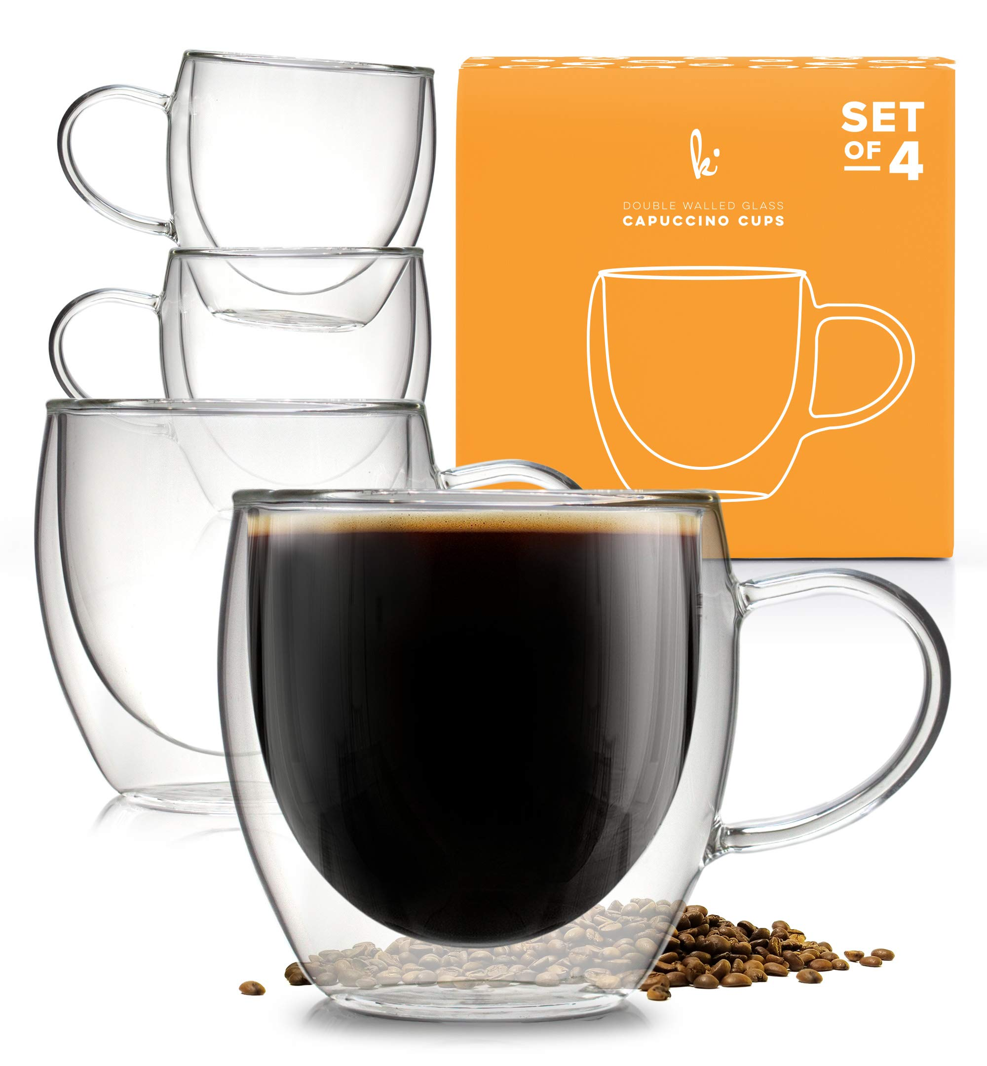 Coffee or Tea Glasses Set of 4-8oz Double Wall Thermal Insulated Cups with Handle by Kitchables
