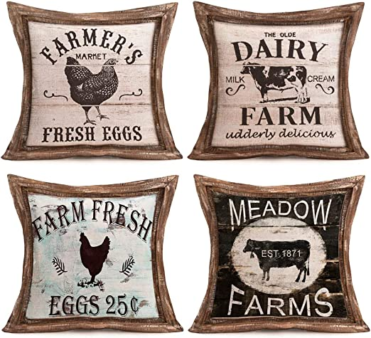 """Framhouse Throw Pillow Covers Cover,Decorative Rooster With Quotes Farms Sweet /"""""""