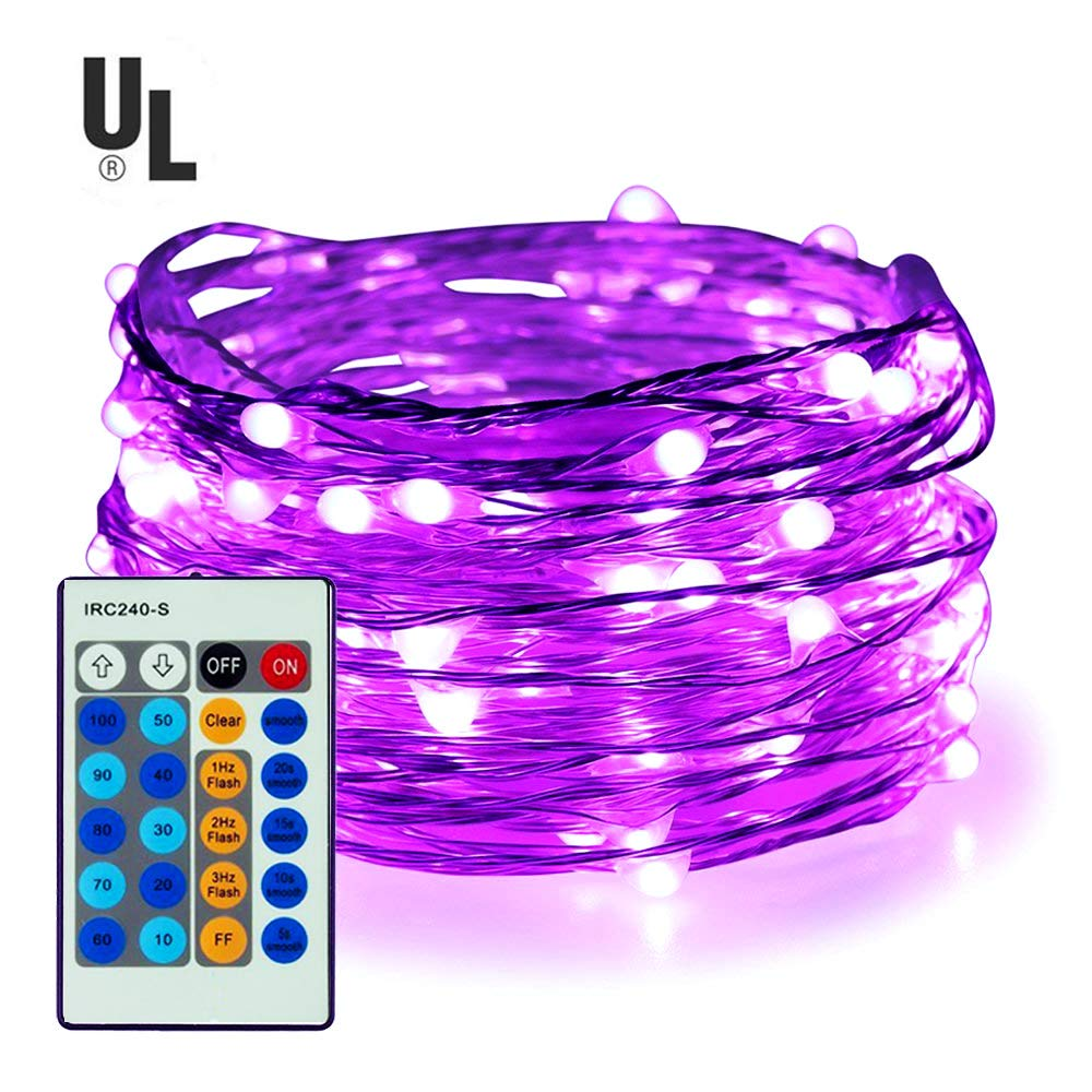 100 LED String Lights,Easest 33 feet Long Copper Wire Starry Lights Dimmable Fairy Lights with Remote Control for Bedroom,Halloween,Home,Party,Patio,Tree,Wedding,Light Decoration (Purple)