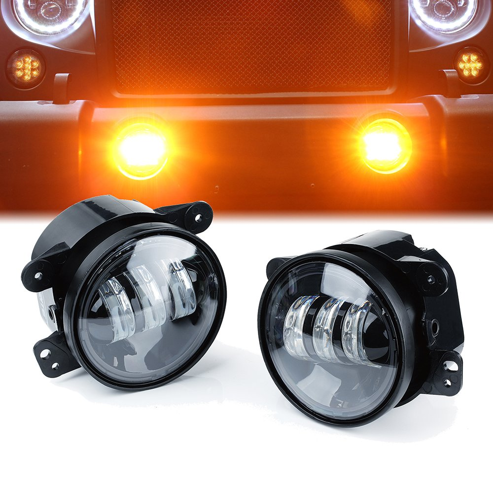 Xprite 4'' Inch LED Fog Lights | 60W Amber Yellow CREE Led Chip Driving Offroad Fog Light | for 07-18 Jeep Wrangler JK Unlimited JK Foglights | Front Bumper Replacements Fog Lamps