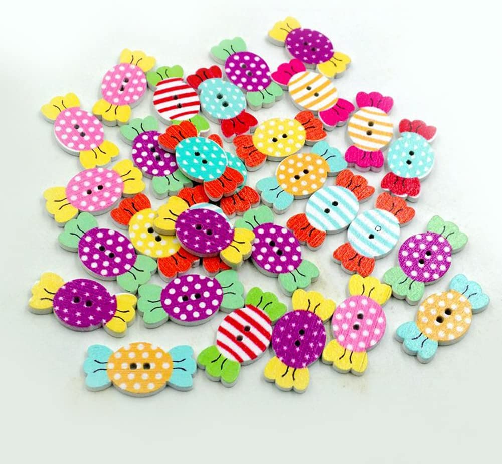 Geshiglobal 50 botones de madera de 2 agujeros dulces en forma de caramelo tejer marionetas color aleatorio colores mezclados para collage ganchillo