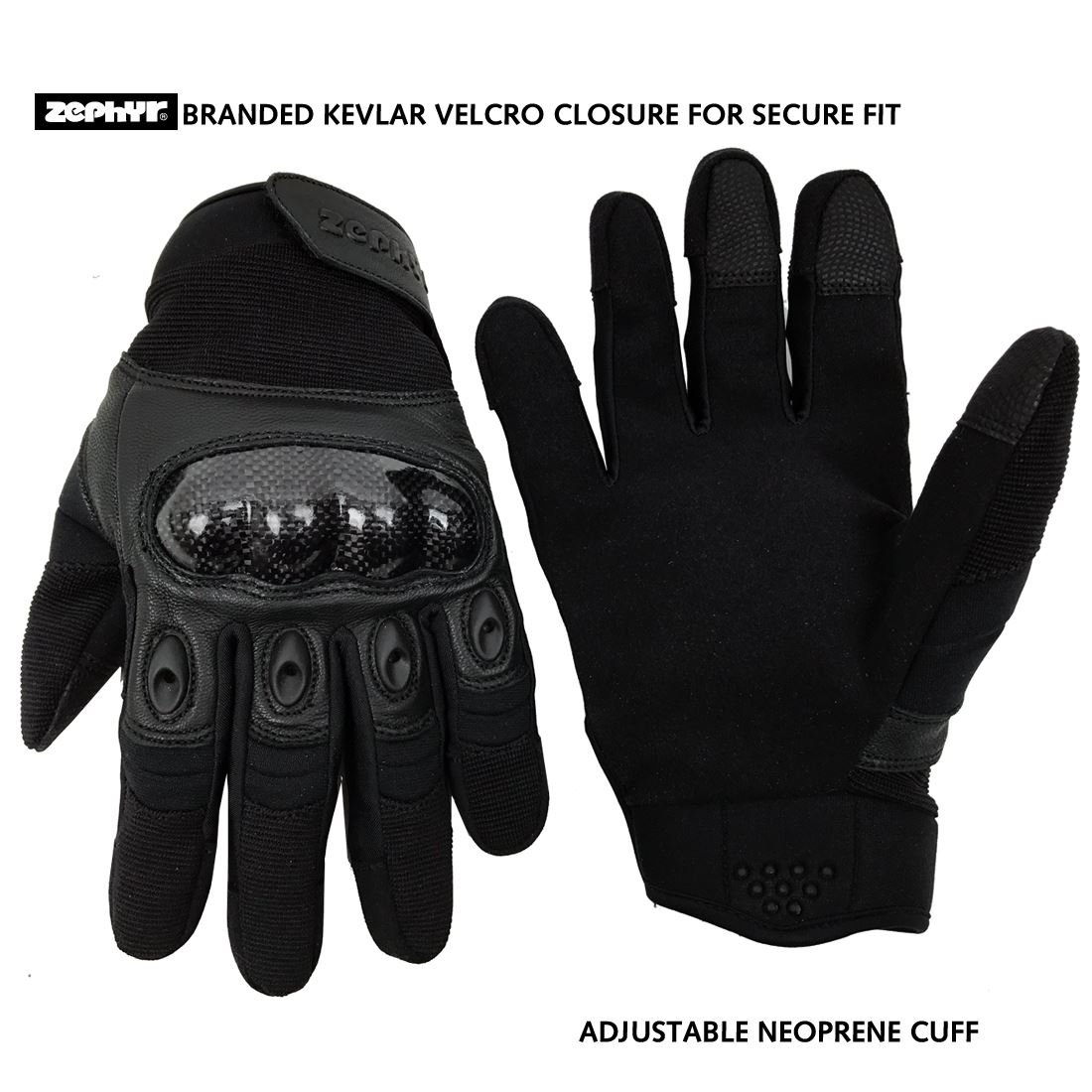 Zephyr Tactical Full Finger Carbon Fiber Knuckle Glovess with Touchscreen Technology - Black - X-Large by Zephyr Tactical