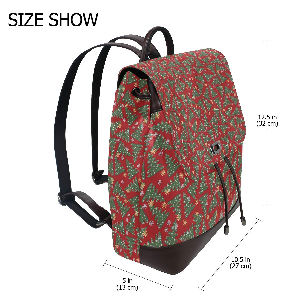 Unisex PU Leather Backpack Christmas Trees Red New Year Print Womens Casual Daypack Mens Travel Sports Bag Boys College Bookbag
