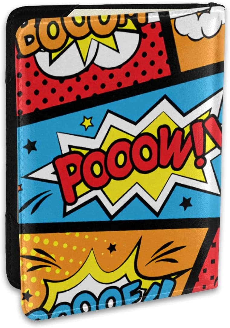 Comic Graffiti Boom Fashion Leather Passport Holder Cover Case Travel Wallet 6.5 In
