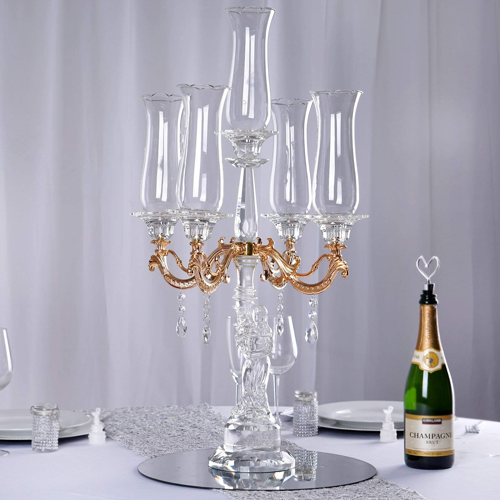 Efavormart 31'' Tall 5 Arm Gold Sculpted Crystal Glass Table Top Candelabra Hurricane Taper Candle Holder Centerpieces - Premium