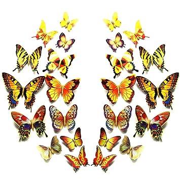 Feoya 24 Stickers Muraux De Papillons 3d Decoration Murale Papillon