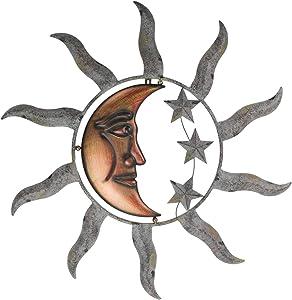 Zeckos Celestial Sun Moon and Stars Indoor Outdoor 28 inch Metal Wall Hanging Sculpture
