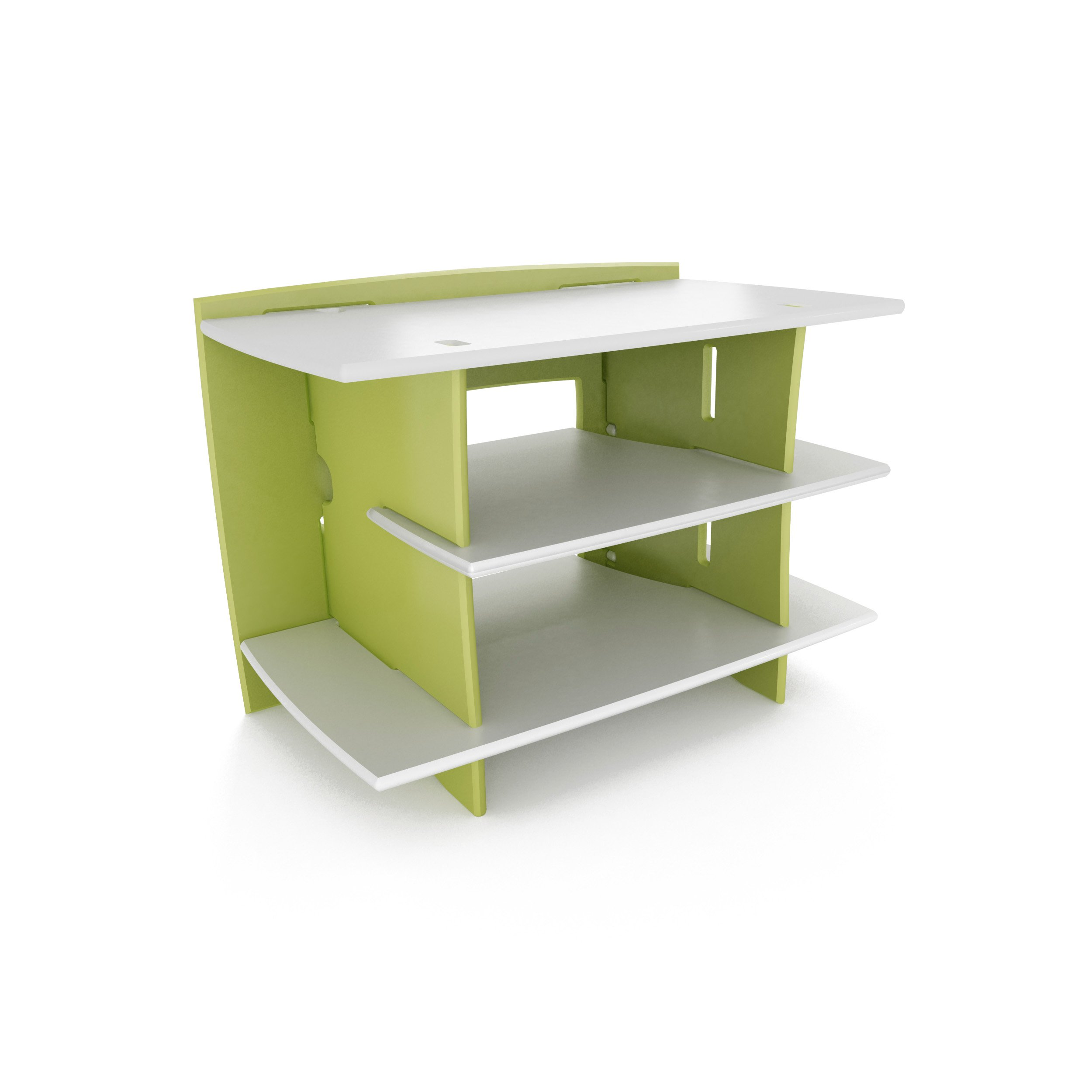 Legaré Kids Furniture Frog Series Collection, No Tools Assembly Gaming Center Stand, Lime Green and White