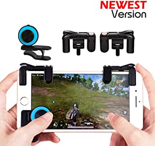 Mobile Game Controller Sensitive Shoot and Aim Keys Button L1R1 Shooter Controller for PUBG / Knives Out / Rules of Survival / Fortnite Cellphone Analog Joystick Latest Upgraded Version ( 1Pair + joystick)