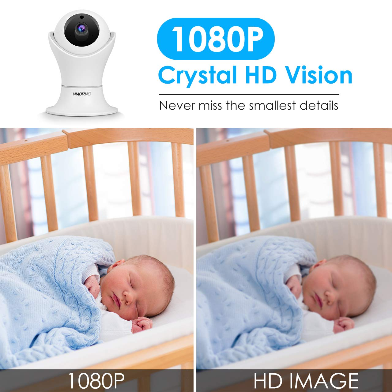 Pet Camera, 1080P Home Security Camera with Night Vision, Two-Way Audio, WIFI IP Camera for Baby Monitor, Auto-Cruise Baby Camera, Remote Control by App Indoor Camera, Cloud Storage by NMORNG (Image #6)
