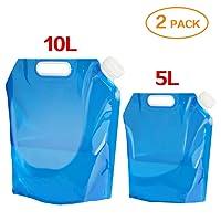 Aboat Sacs de 5L/10L d'eau pliable Eau potable Conteneur, extérieur Sac d'eau pliable pour le sport Camping Randonnée pique-nique barbecue