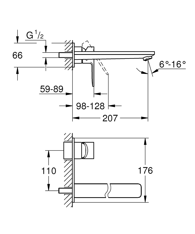 Grohe lineales de 2/Orificios de lavabo bater/ía 23444001