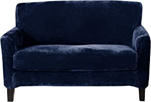 Great Bay Home 2 Piece Velvet Plush Loveseat Slipcover. Form Fit, Stretch Slip Resistant, Strapless Slipcover. Soft Stretch Loveseat Slipcover. Elliana Collection (Love Seat, Dark Denim Blue)