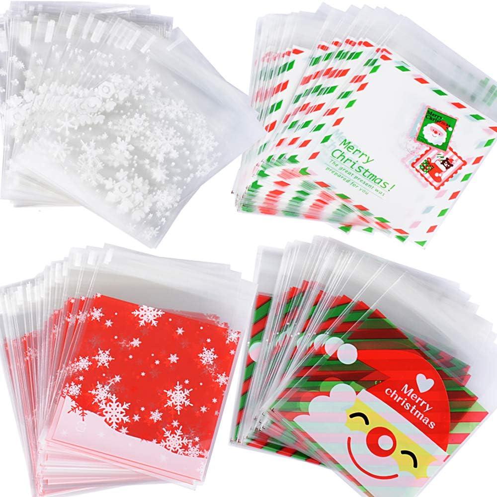 400pcs(10 * 13cm) Bolsas Bolsitas Navidad Plástico Celofán Autoadhesivas Caramelos Regalo Dulces Galletas Cookies Fiesta (4 diseños*100pcs) Tamaño 10 * 10+3cm: Amazon.es: Hogar