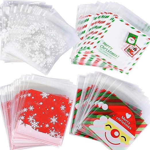 400pcs(10 * 13cm) Bolsas Bolsitas Navidad Plástico Celofán Autoadhesivas Caramelos Regalo Dulces Galletas Cookies Fiesta (4 diseños*100pcs) Tamaño 10 ...
