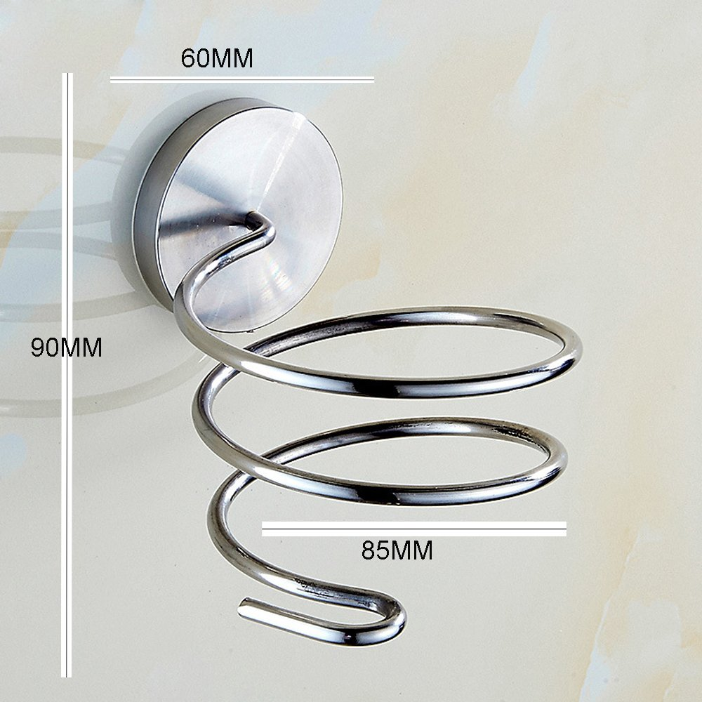 Hair Dryer Holder,AIYoo Wall Mount SUS304 Stainless Steel Bathroom Hair Blower Holder with Plug Hook Chrome Finished