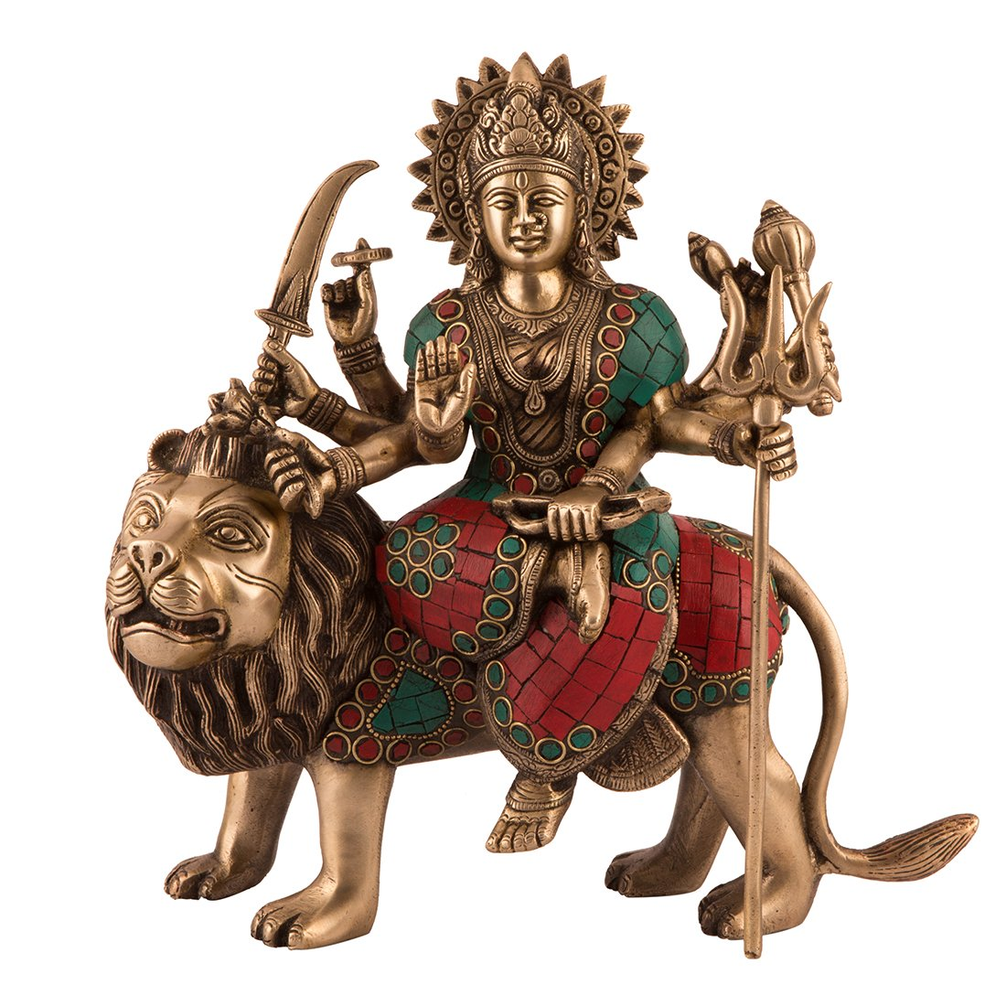 CraftVatika Durga Statue Hindu Goddess Brass Sculpture Maa Durga Kali Devi Lion Figurine Decor Gift