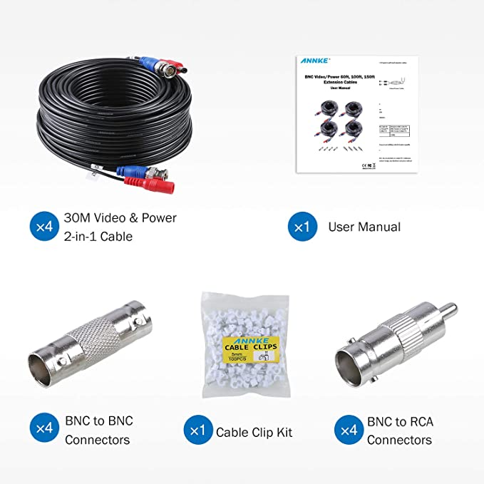 Pleasing Amazon Com Annke 100 Feet 30 Meters 2 In 1 Video Power Cable With Wiring 101 Capemaxxcnl