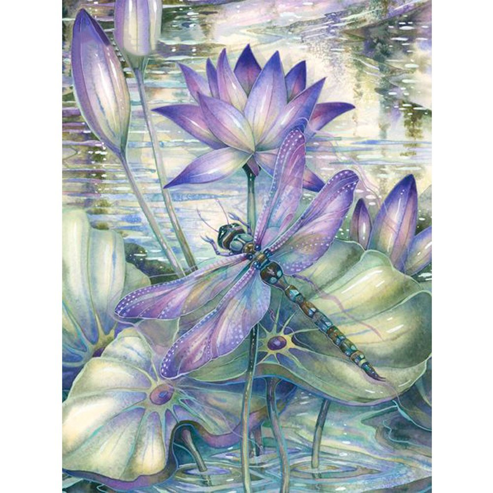 5D DIY Diamond Painting, Full Drill Embroidery Painting Picture Art for Wall Decoration - Dragonfly on Lotus 11.8 x 15.8 inches