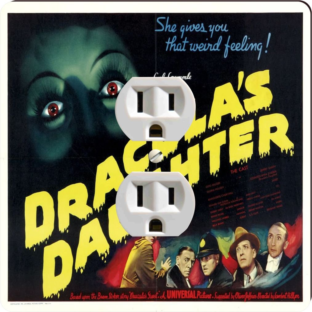 Rikki Knight 3708 Outlet Vintage Movie Posters Art Dracula's Daughter 5 Design Outlet Plate by Rikki Knight