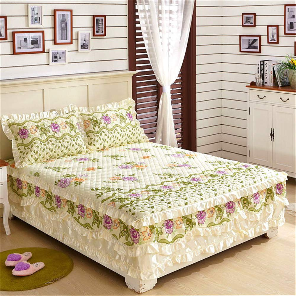 FENGDONG Fancy Cotton Quilted Lace Styles Floral Ruffled Bed Skirt Pastoral by FENGDONG